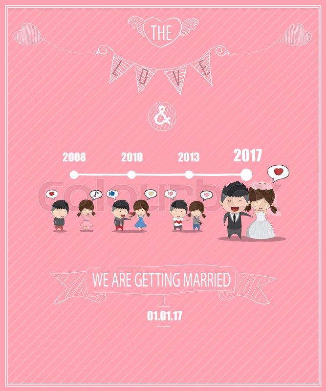 Duration cute cartoon Wedding couple men and women card, cute ...