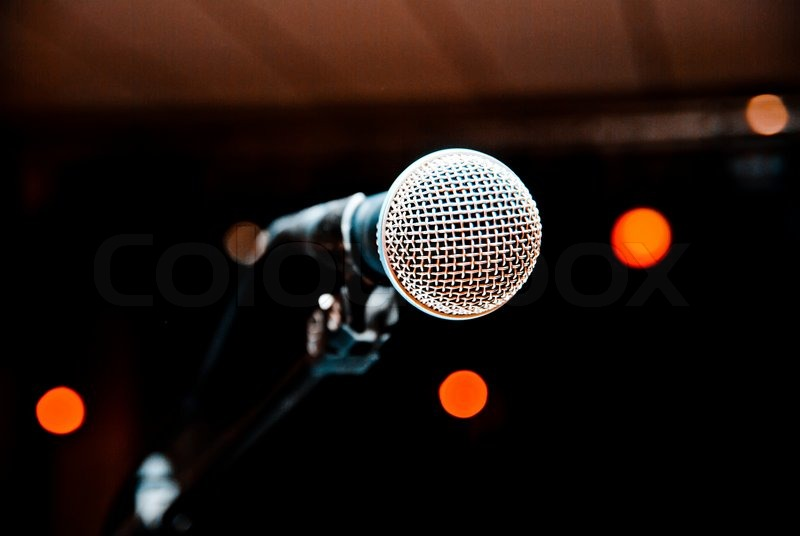 Microphone in studio on a blur background stock photo - Microphone wallpaper ...