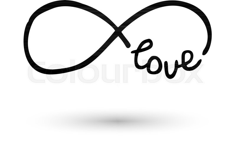 Infinity Symbol With Word Love Icon Hand Drawn With Ink Brush
