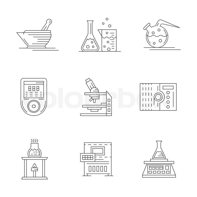 Symbols Of Laboratory Equipment Glassware Electronic Scales