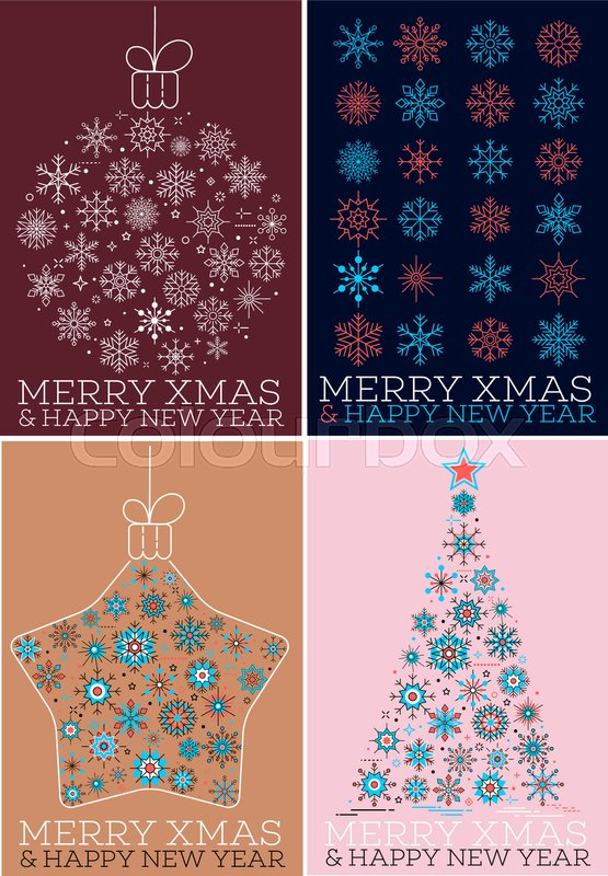 merry xmas and happy new year greeting cards set winter holidays congratulation banner with christmas tree and snowflakes in trendy linear style