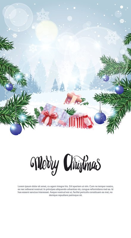 merry christmas calligraphy text over winter forest background