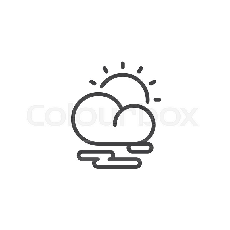 Partly Cloudy Weather Line Icon Outline Vector Sign Linear Style