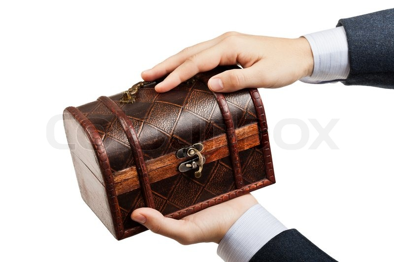 Business Man Hand Holding Old Antique Brown Wood Treasure