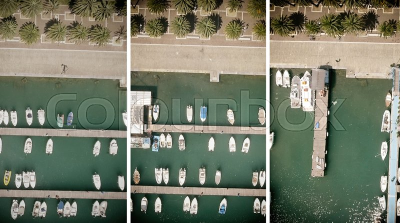 Aerial overhead view of boat marina, stock photo