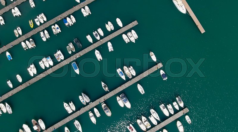 Overhead view of docked boats in the port, stock photo