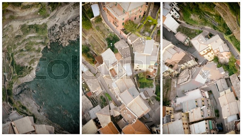 Overhead aerial view of Five Lands homes, Italy, stock photo