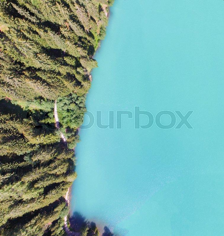 Beautiful mountain lake, overhead panoramic aerial view in summer season, stock photo