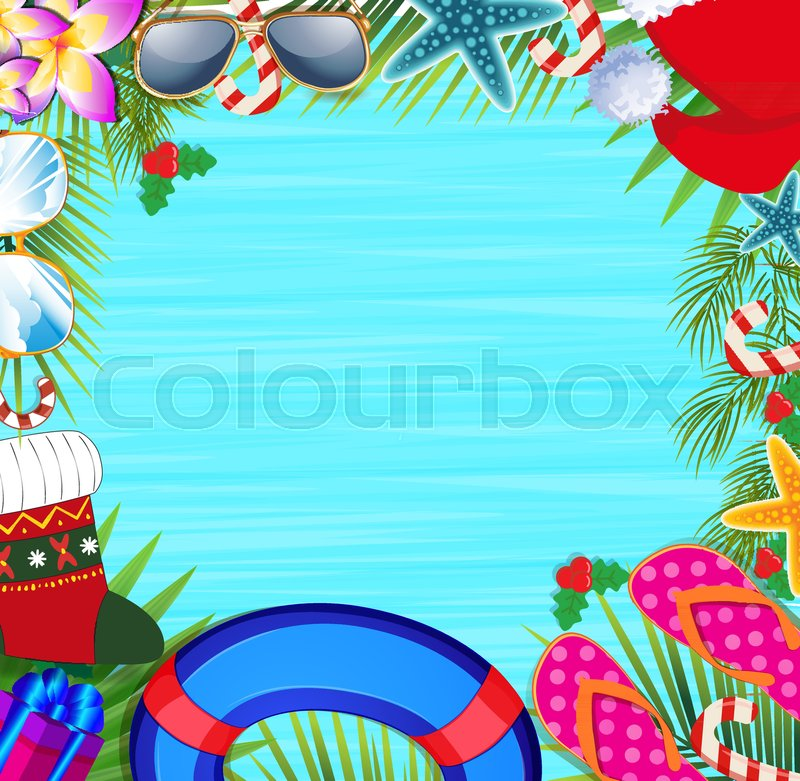 merry christmas and happy new year border on a warm climate design background summer vacation accessories and palm leaves with santa hat