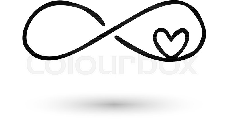 Infinity Symbol With Heart Icon Hand Drawn With Ink Brush Modern