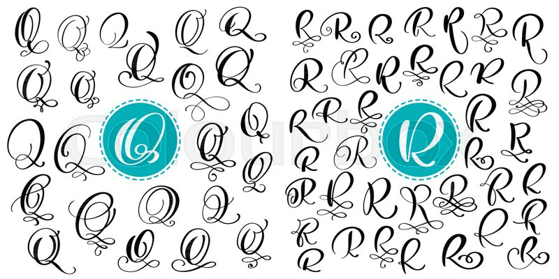 Set Letter Q R Hand Drawn Vector Flourish Calligraphy Script Font Isolated Letters Written With Ink Handwritten Brush Style Lettering For Logos