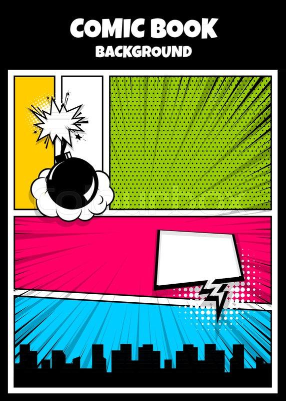 Blank Humor Graphic Pop Art Comics Book Magazine Cover Template Cartoon Funny Vintage Strip Comic Superhero Text Speech Bubble Balloon Box Message