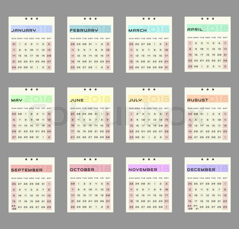 week starts in sunday twenty month calendar work and holiday events planner block almanac mockup or template vector