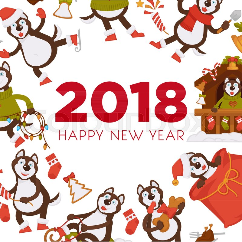 Happy New Year 2018 cartoon dog celebrating holidays greeting card ...