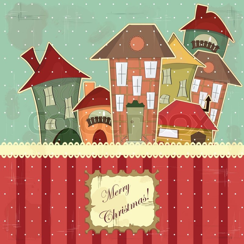 Christmas card in vintage style - retro houses in the snow | Stock ...