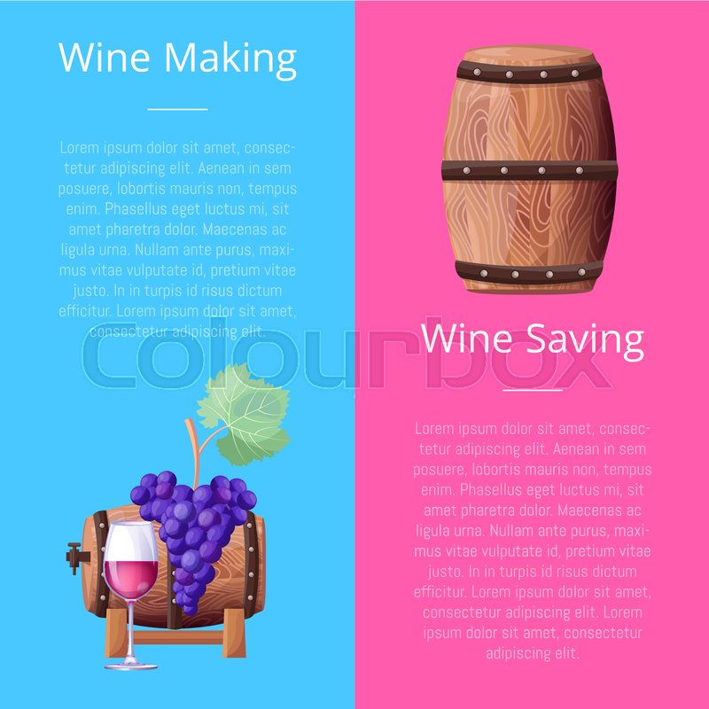 Wine Making And Saving Manual With Grape Bunch Wooden Barrel And