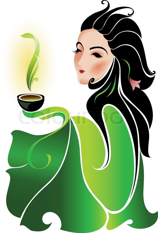 Woman with cup of green tea on white background