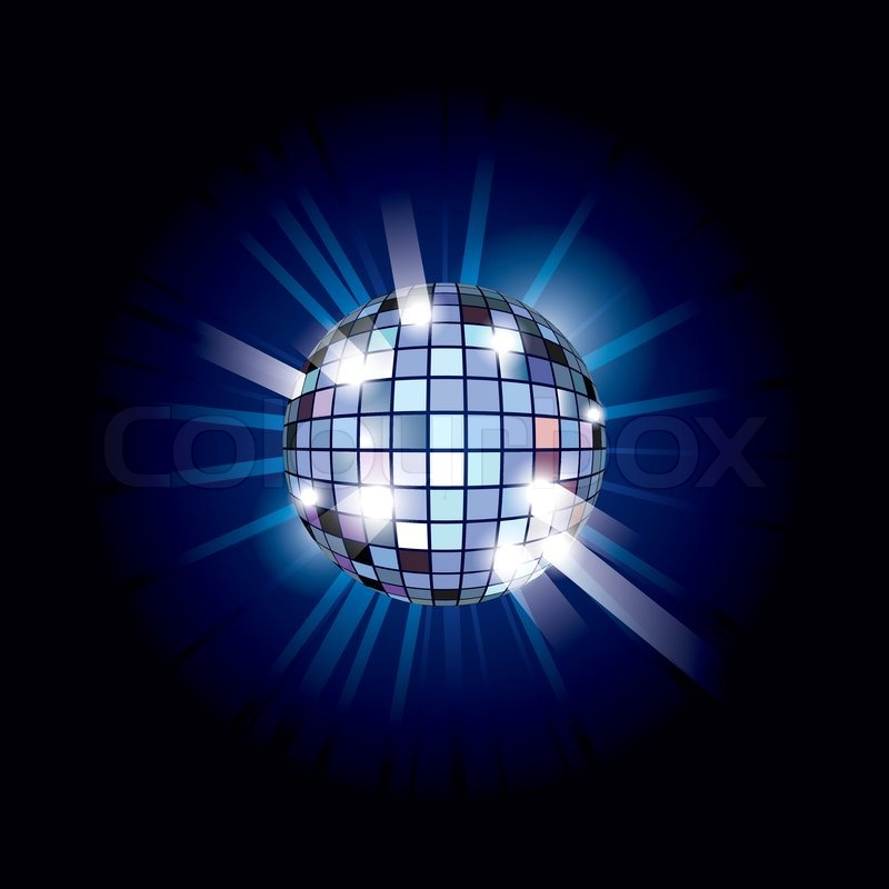 Blue disco ball vector illustration on black background for 1234 get on the dance floor song download free