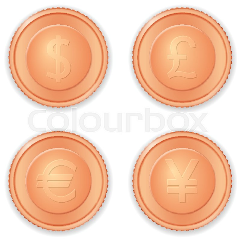 Bronze Coins With Currency Symbols On A White Background Stock