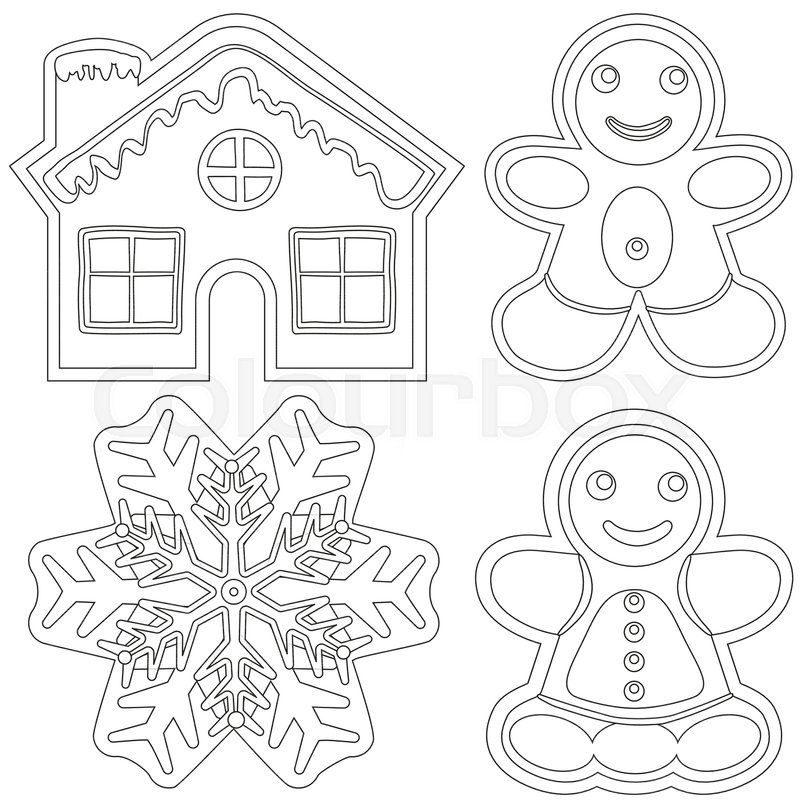 Gingerbread black and white poster - house, man, woman, snowflake ...