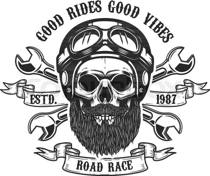 Racer Skull In Helmet Design Element For Emblem Sign