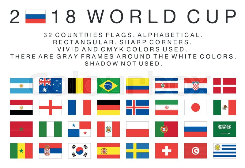 flags of 2018 world cup national teams 32 countries rectangular