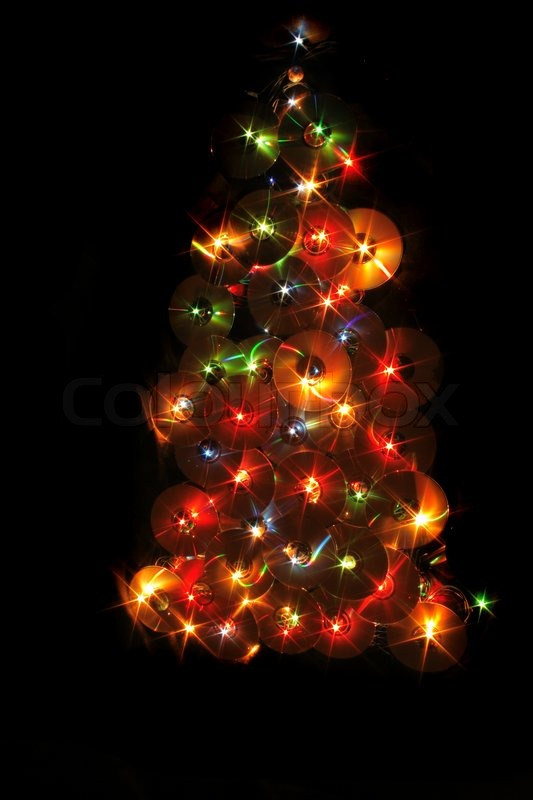 Nice xmas tree from the color lights and cd-rom | Stock Photo ...