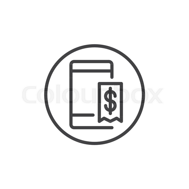 mobile phone with dollar invoice line icon outline vector sign