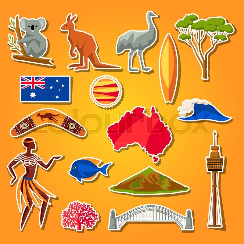 Australia Icons Set Australian Traditional Sticker Symbols And