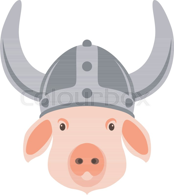 Pig in viking helmet vector illustration flat style front view ...