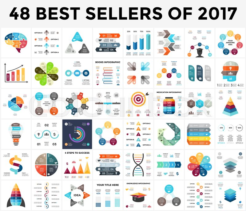 Vector Infographics Set 48 Best Sellers Of 2018 Business Diagrams