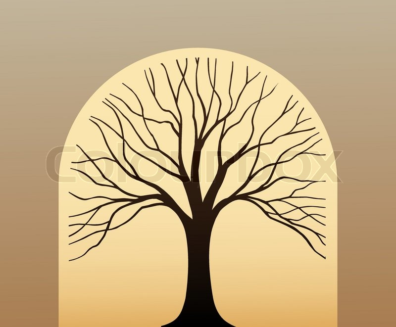 Symbol Tree In The Form Silhouette Against Leaf Stock Vector