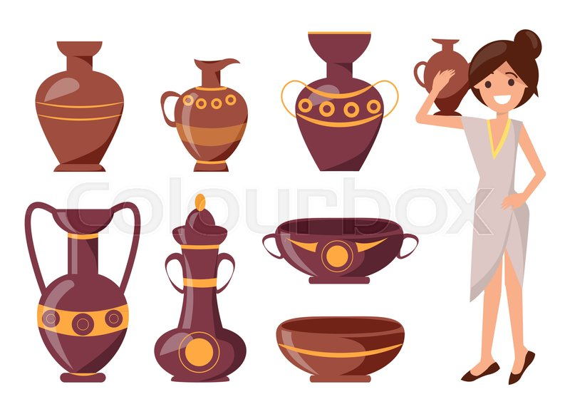 Woman Posing With Clay Vase Vector Illustration Isolated On White