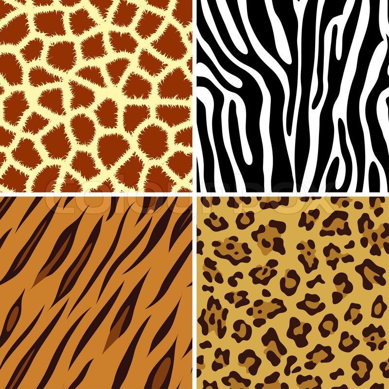 Fire sømløs flisebelægning dyreprint giraf , zebra, tiger og ...