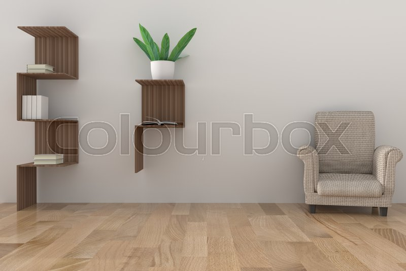 Minimalist bookshelf with light l& and houseplant in empty room design in 3D rendering | Stock Photo | Colourbox & Minimalist bookshelf with light lamp and houseplant in empty room design in 3D rendering | Stock Photo | Colourbox