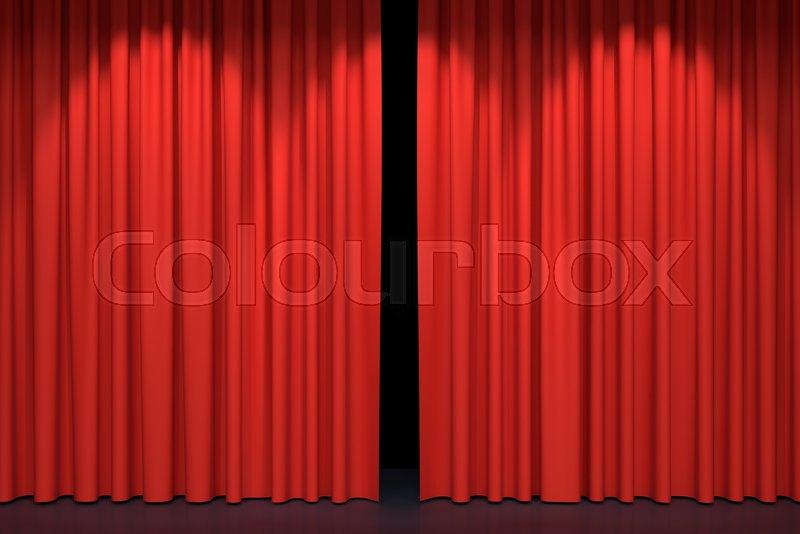 Red stage curtains. Luxury red velvet drapes, silk drapery ...