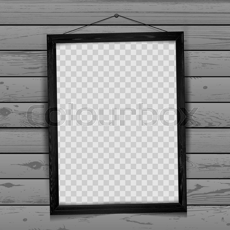 Wood rectangular art vertical frame with shadow on transparent gray ...