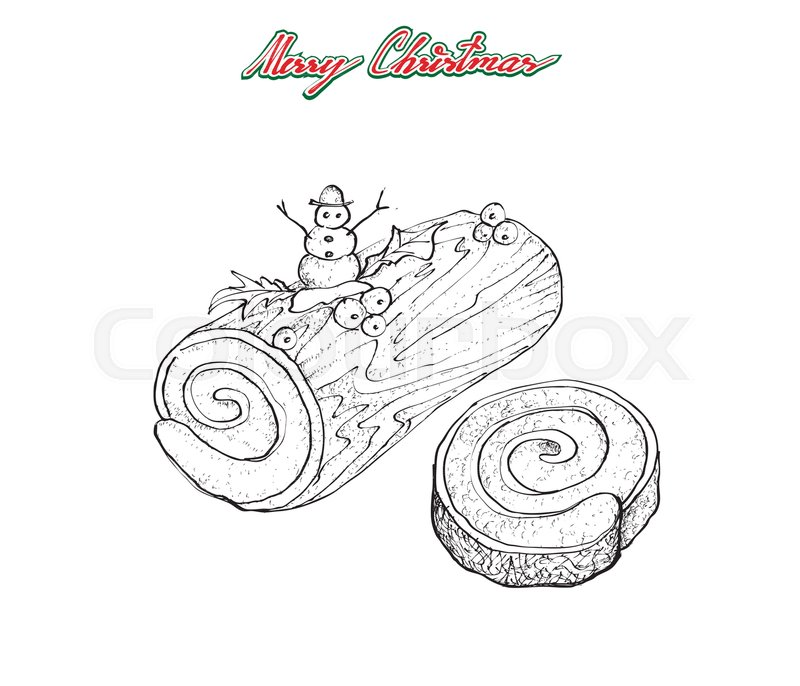 Illustration Hand Drawn Sketch of A Traditional Christmas Cake, Yule ...