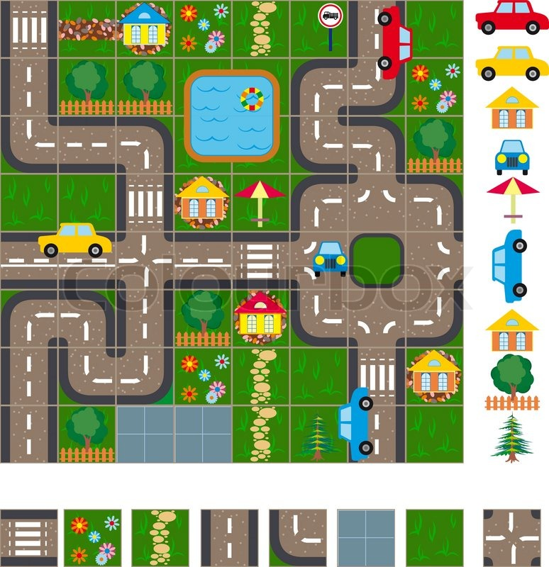 Map / Layout of the streets of a small ... | Stock vector ...