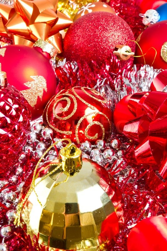 Background made of christmas balls and tinsel stock