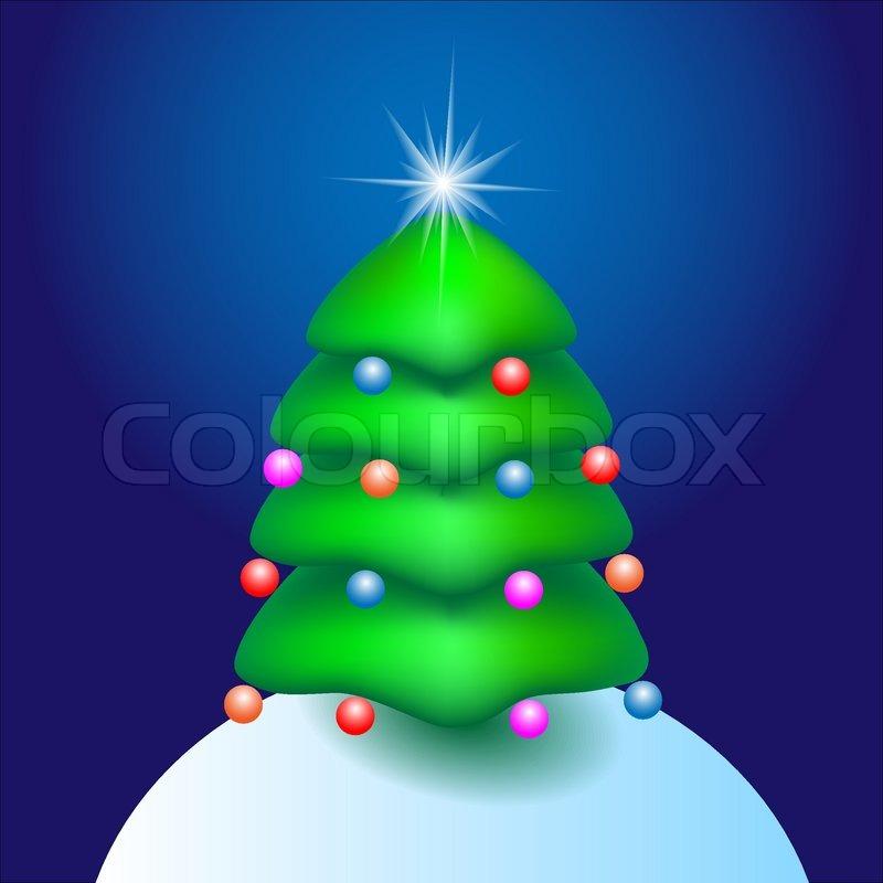 Christmas cartoon tree with star vector illustration
