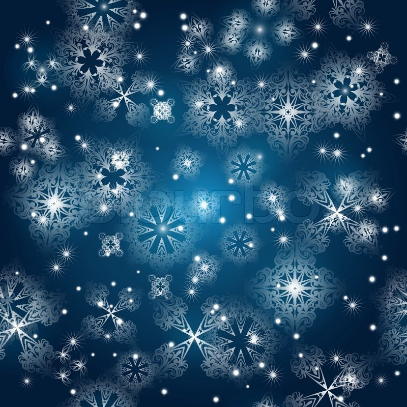 Vector seamless background with snowflakes at the winter sky, clipping ...
