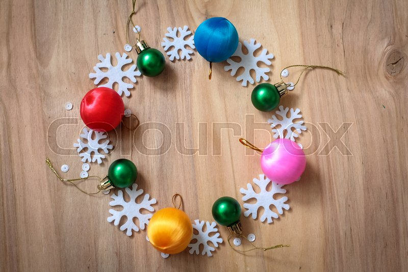 Christmas gifts and decorations on the table. Decorative element, stock photo
