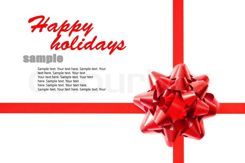 Red ribbon with a bow on the holiday letter with sample text stock red ribbon with a bow on the holiday letter with sample text stock photo colourbox spiritdancerdesigns Gallery
