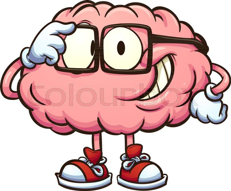 nerdy cartoon brain adjusting glasses vector clip art illustration rh colourbox com brain clip art hearing brain clip art spark