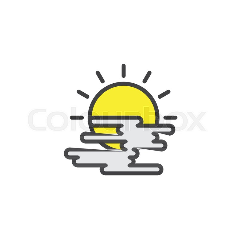 Sun And Cloud Filled Outline Icon Line Vector Sign Linear Colorful