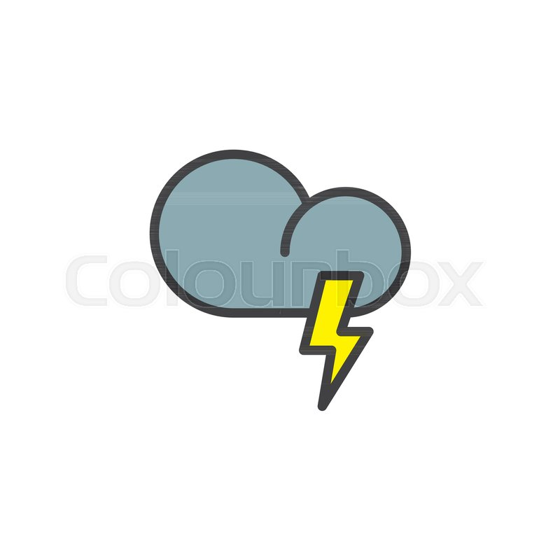 Cloud Weather With Thunder Filled Outline Icon Line Vector Sign