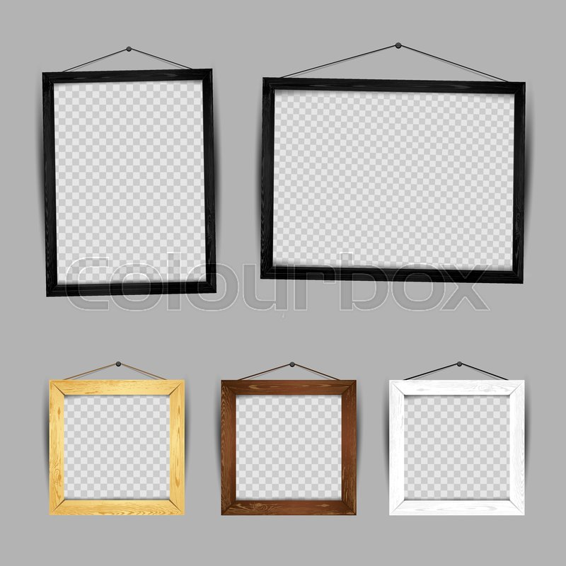 Wooden frame gallery set collection. Rectangular and square art ...