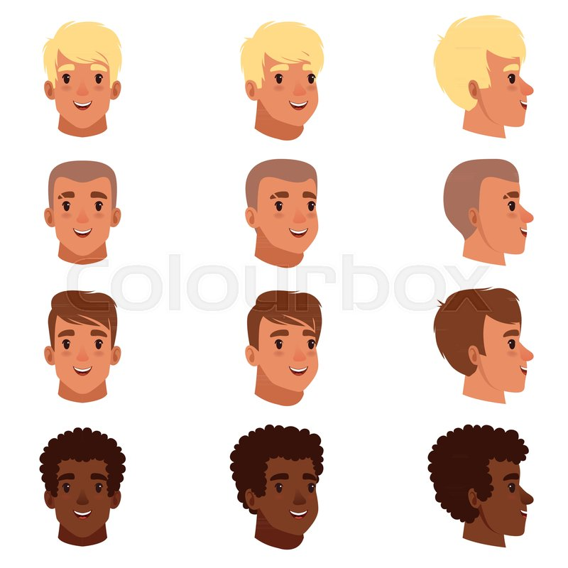Illustration Of Men Head Avatars Set With Different Haircuts Classical Trendy Hairstyle Curly Hair Bald Front And Side View Flat Design Icons Cartoon