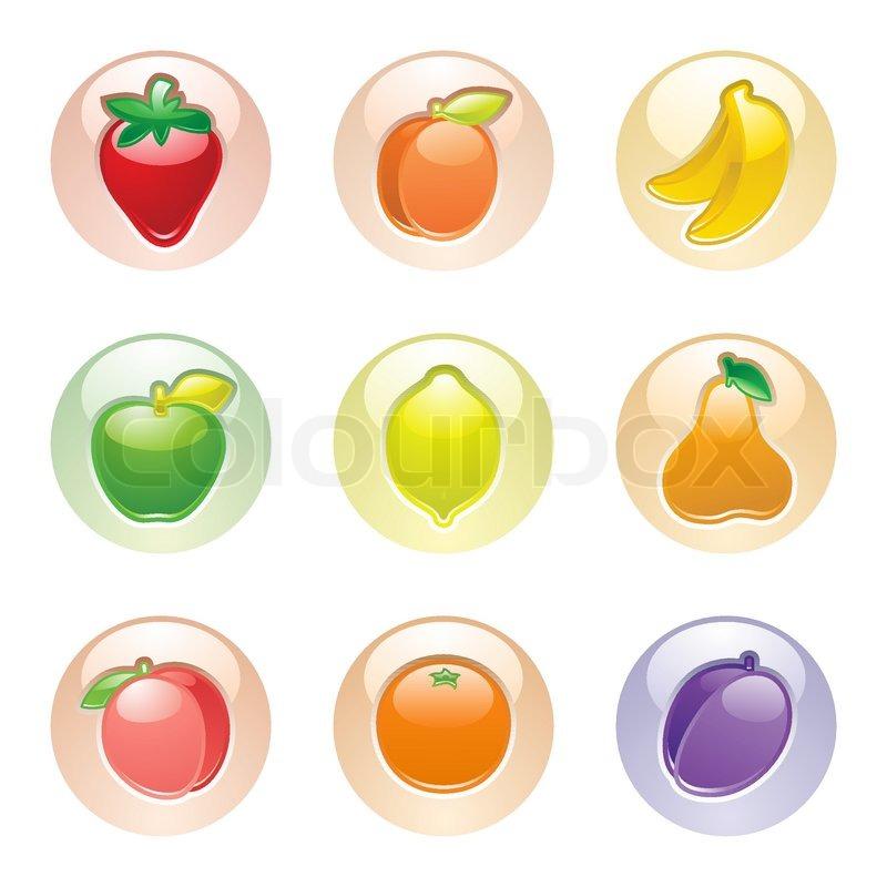 Fruits button gray web 20 icons stock vector colourbox sciox Choice Image